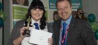 Pictured: UTC Sheffield student Molly Keyworth, 17, collecting her award from Principal Nick Crew