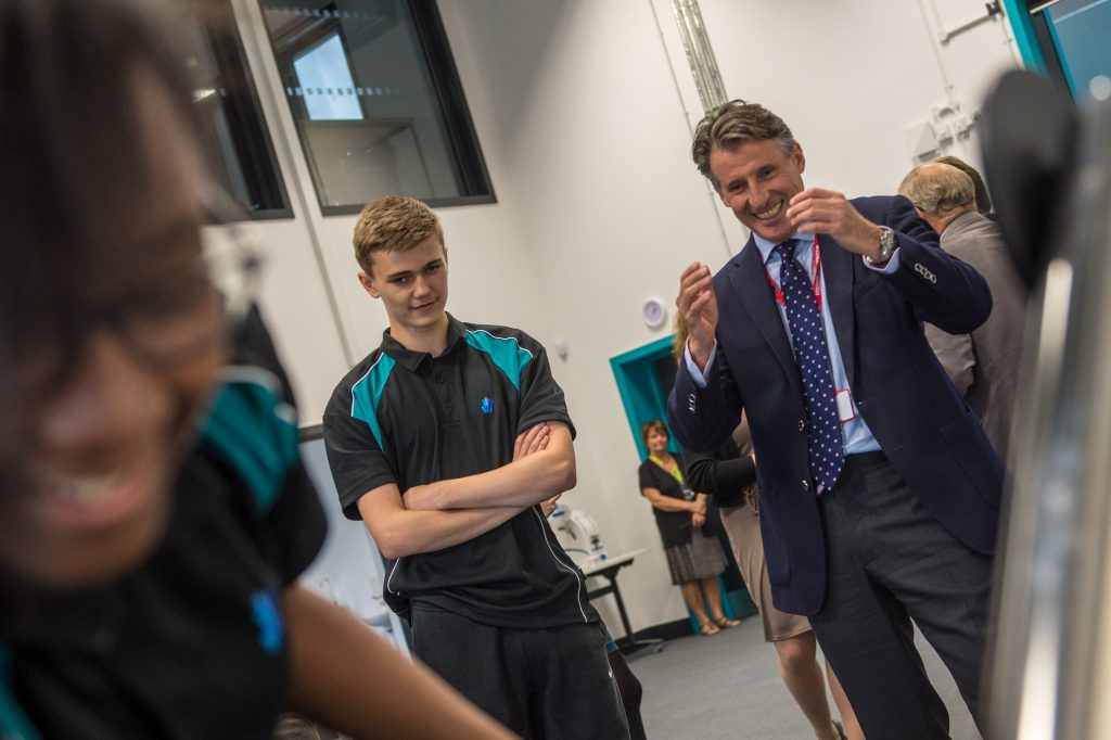 Seb Coe visits the Sports Science pupils at the UTC in Sheffields Olympic Legacy Park
