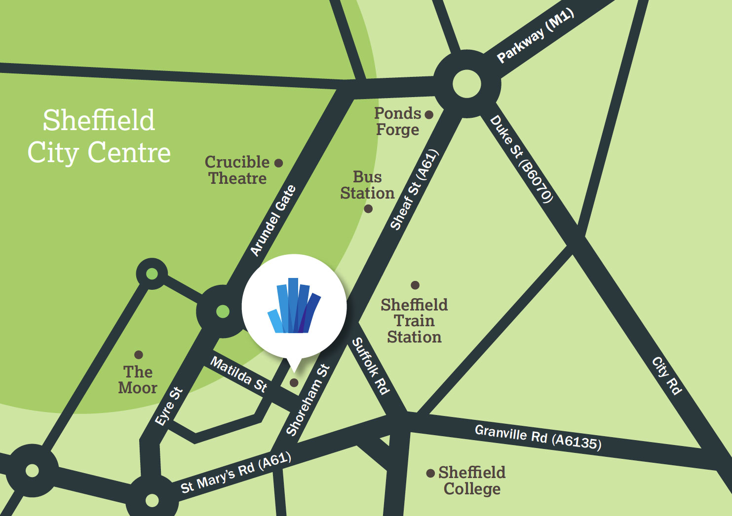 UTC Sheffield City Centre campus Map